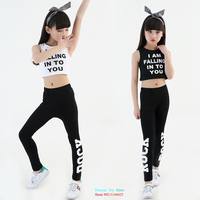 10 18 Years Kids Letter Crop Tank Tops Legging Two Pieces Set For Girls Summer Style