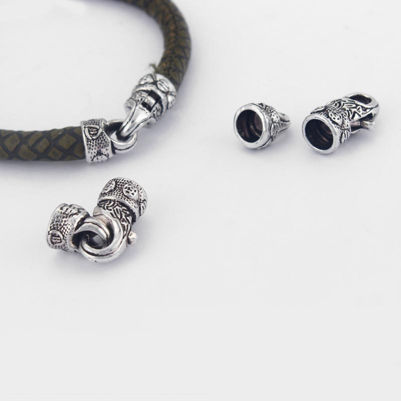 5Sets Antique Silver Carved Flower Shaped Lobster Clasp Hook Fit 6mm Round Leather Cord DIY Jewelry Making Accessories