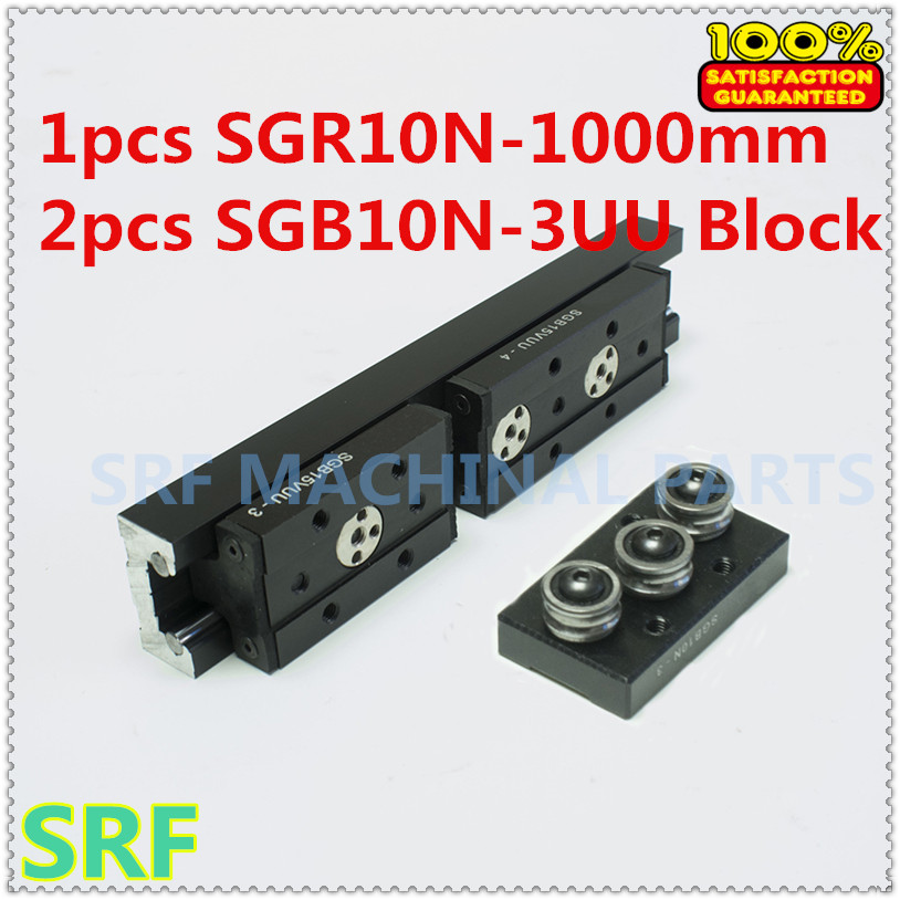 High quality Rectangle Roller Linear Guide Rail 1pcs SGR10N Length=1000mm +2pcs SGB10N-3UU three wheel slide block for CNC part hig quality linear guide 1pcs trh25 length 1200mm linear guide rail 2pcs trh25b linear slide block for cnc part