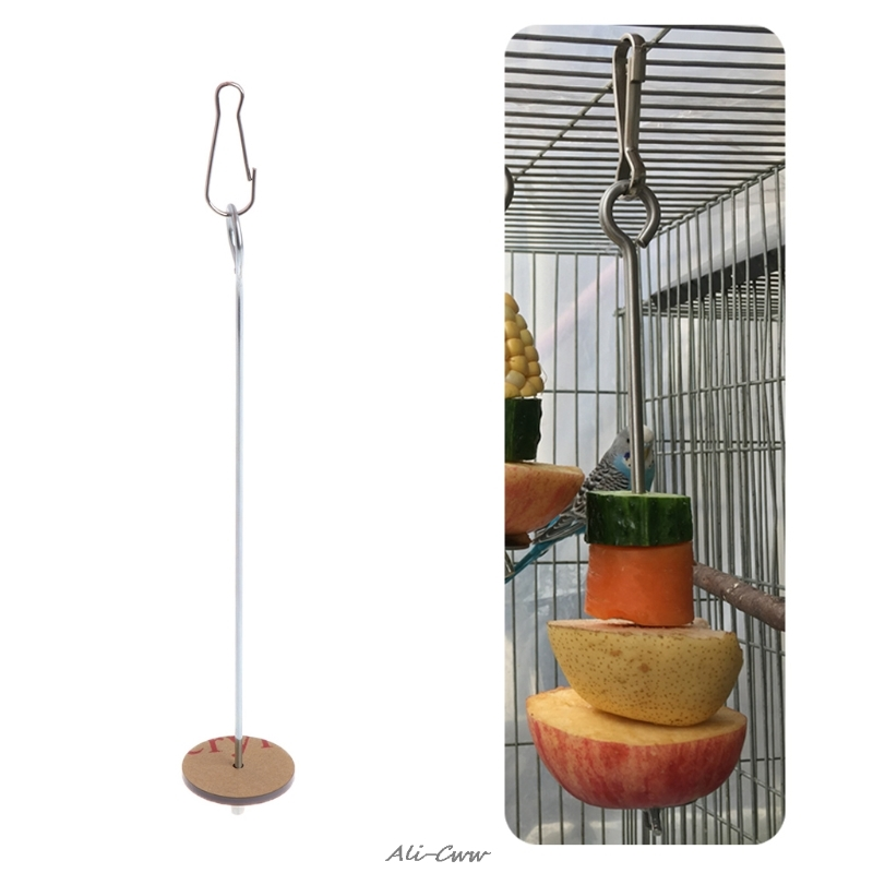 High Quality Pet Parrots Birds Food Holder Support Stainless Steel Fruit Spear Stick Meat Skewer