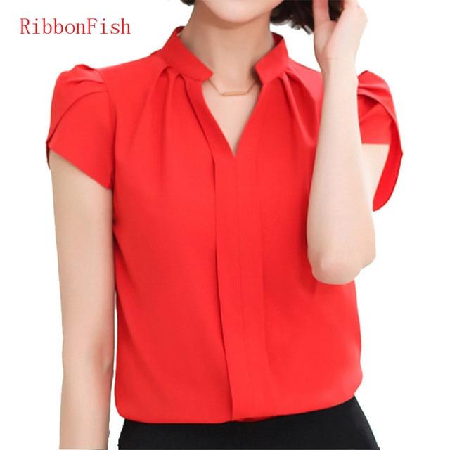 2018 Office OL Wear Women Summer Style Chiffon Blouses Shirts Lady Girls Casual V-Neck Short Sleeve Tops Shirts Blusas DF1177