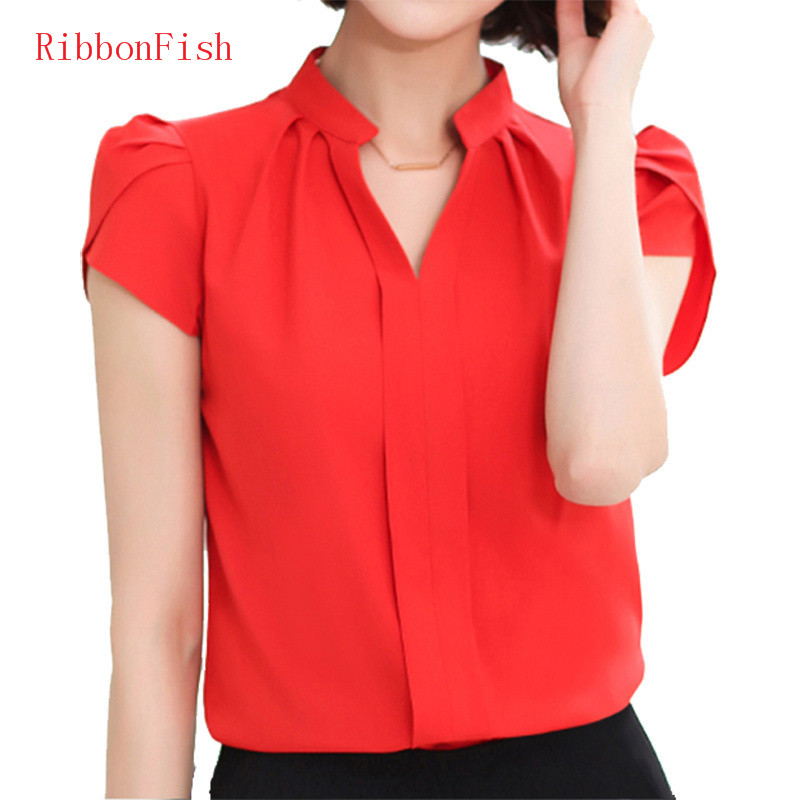 2018 Office OL Wear Women Summer Style Chiffon   Blouses     Shirts   Lady Girls Casual V-Neck Short Sleeve Tops   Shirts   Blusas DF1177