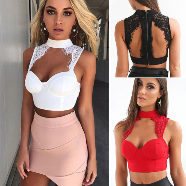 4da7b13c9e Women Sexy Lady Lace Sleeveless Crop Tops Blouse Shirt Bustier Bralette  Tank Tops Black White 2 Colors Solid Strapless Crop Top