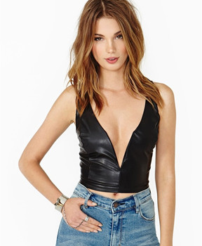 6xl Plus Size Women Summer Style Sexy Deep V-neck Tank Tops PU Leather Top Casual Women Crop Tops Fitness Leather Tops plus size women in leather