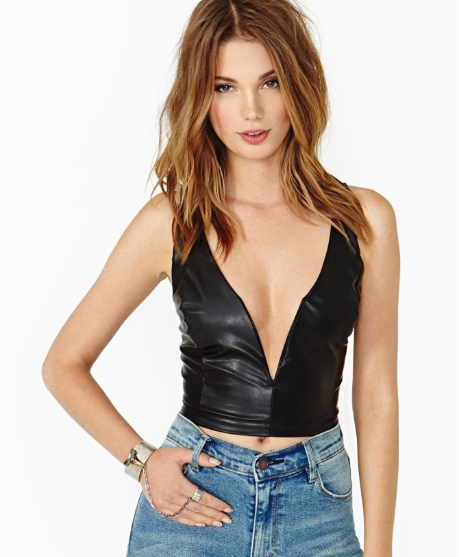 WBCTW 6XL Plus Size Women Summer Style Sexy Deep V-neck   Tank     Tops   PU Leather   Top   Casual Women Crop   Tops   Fitness Leather   Tops