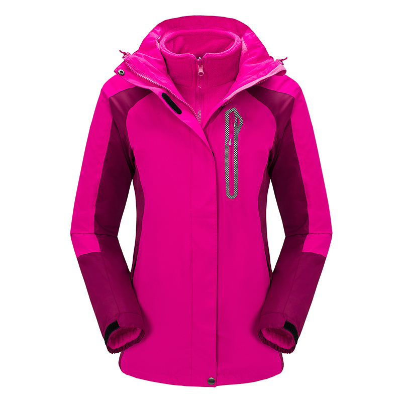 New Ladies Hoodie 3in1 Outdoor Fleece Inner Waterproof Winter Jacket Women Hiking Jaqueta Feminina Ski Camping Outerwear Coat new outdoor sport windbreaker waterproof jacket men hiking camping skiing climbing winter coat fleece lining jaqueta masculino