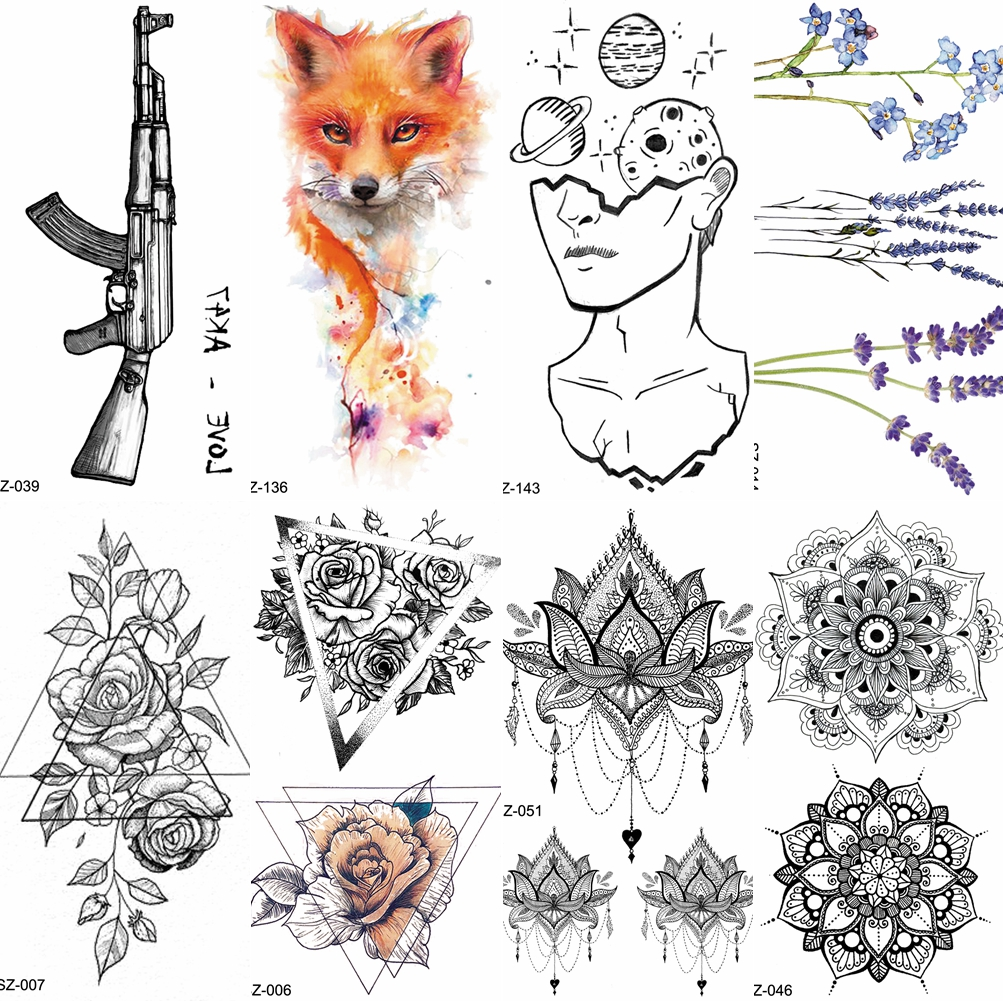 Children Cartoon Temporary Tattoo Sticker Men Gun AK47 Waterproof Fake Black Lines Flower Mountain Cute Tattoo Women Kids Planet