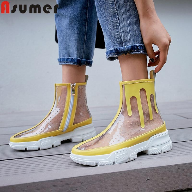 Pvc Casuales Señoras Plataforma Las Venta Caliente Verano Tobillo Botas White Pisos 2019 Mujer Asumer yellow Nuevo Transparente Zapatos Cremallera De ZOanxvEqw7
