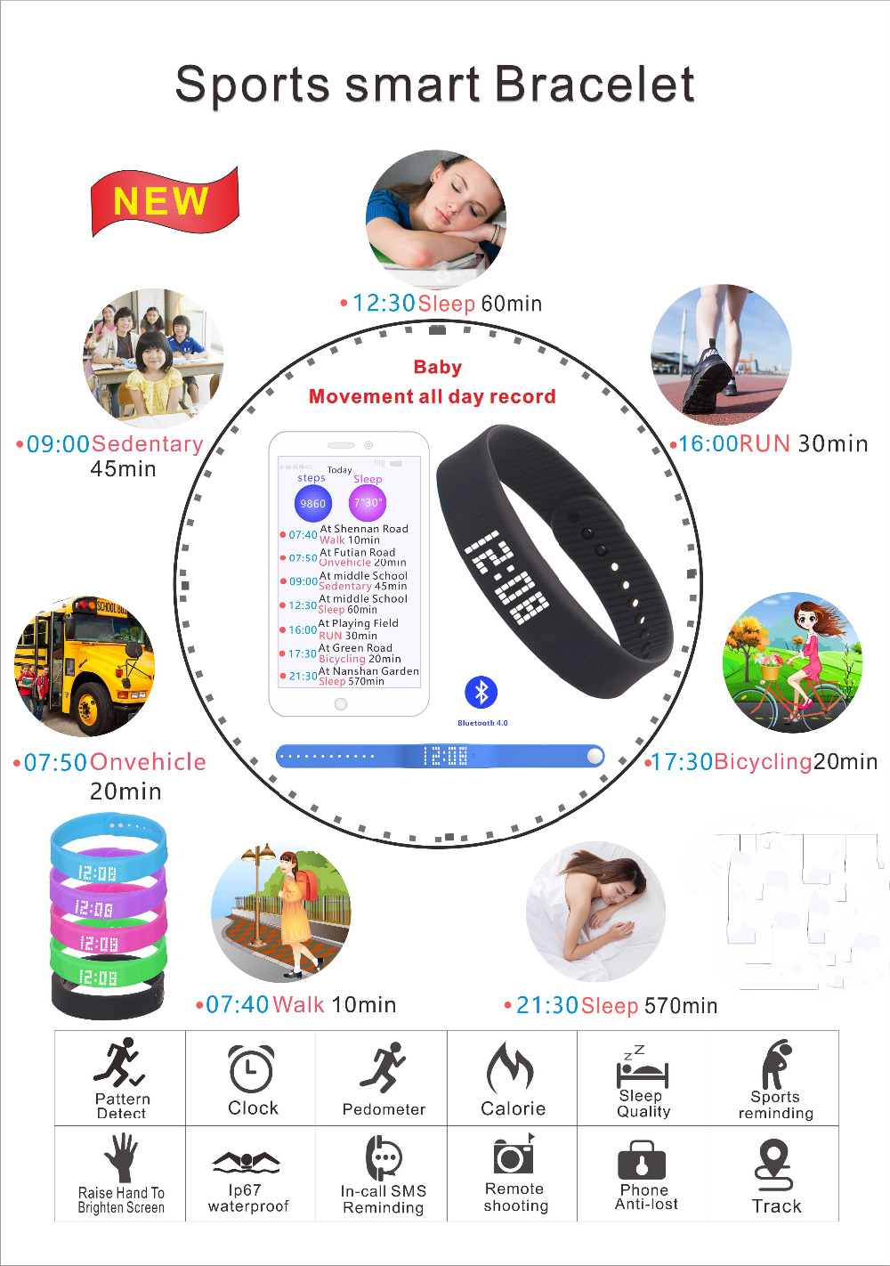 Image 5 - smart wristband 3D fitness tracker Bluetooth bracelet waterproof led display watch for huawei xiaomi Android IOS 2019 newversion-in Smart Wristbands from Consumer Electronics