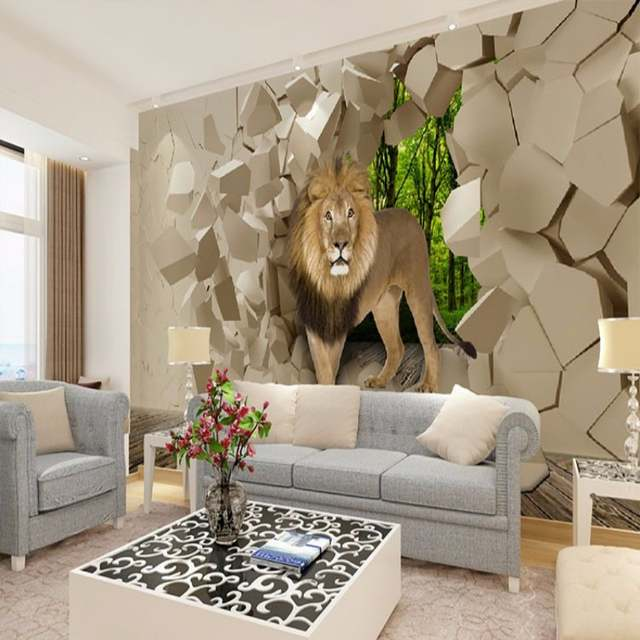 Beibehang Murales Stone Lion Wall Background Graphic Wallpaper For Boys Room Wallpaper 3d Wallpaper Wallpapers Home