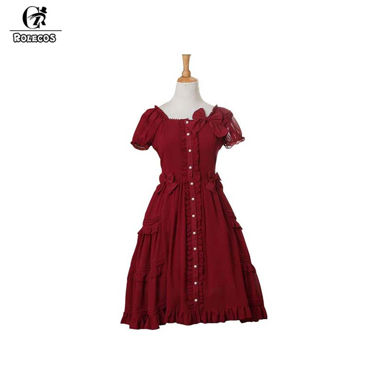 ROLECOS Classical Red Color Lolita Dress Female Party Dress With Bownot Lovely Short Sleeve Chiffon Ruffle Dress For Women 2017