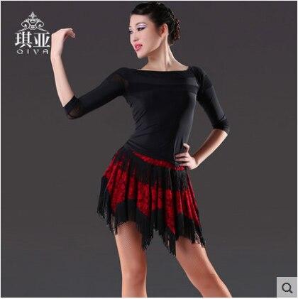 Latin Dance Kleid Sexy Silky Velvet Latin Girls Fransen Ballsaal Rock - Kunst, Handwerk und Nähen - Foto 2