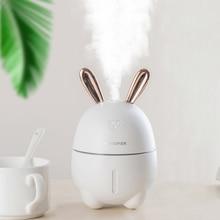 купить Ultrasonic Rabbit Air Humidifier Aroma Essential Oil Diffuser for Home Car USB Fogger Mist Maker with LED Night Lamp JS-01 дешево