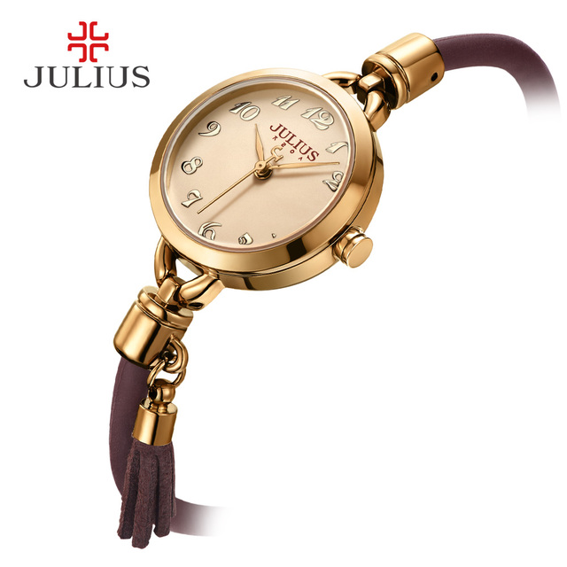 Юлий смотреть новое поступление Винтаж тонкий Whatch с кисточкой силиконовый ремешок уникальный творческий дизайнер Montre женский часы час ja-994