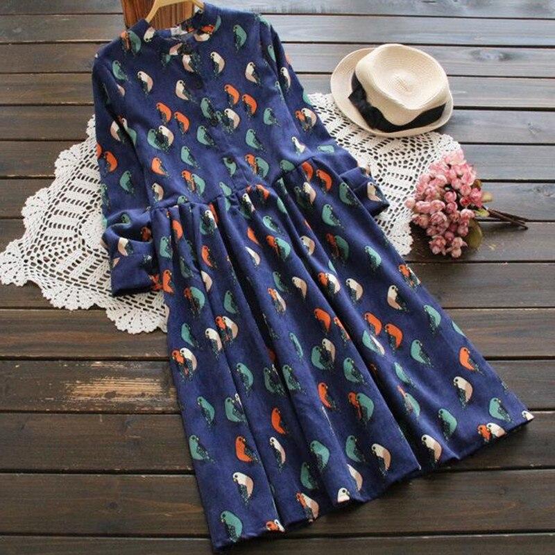 Corduroy High Elastic Waist Vintage Dress 2019 Spring Autumn Women Full Sleeve Shirt Dress Floral Print Dresses Vestidos R281