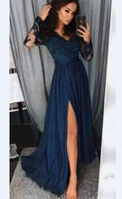 Evening Dresses 2019 Long deep V Neck Lace Sleeves Satin Elegant Formal Party Sexy Side Split Gowns Robe De Soiree
