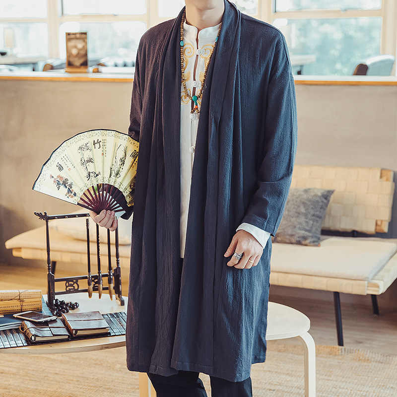 046b4232a1767 ... Мужской повседневное пальто для мужчин модные длинная куртка-кардиган  мужской сплошной цвет Непал стиль плащ ...