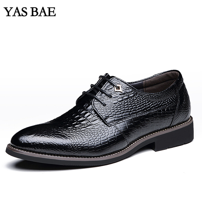 Men's Shoes Black Designer Brand Male Brown Dress Italian Crocodile Skin Leather Office Footwear Social Cheap Cocodrilo Formal Shoe For Men