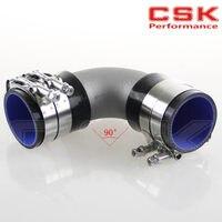 57mm 2.25 Cast Aluminum 90 Degree Elbow Pipe Turbo Intercooler+ silicone hose kit BLACK