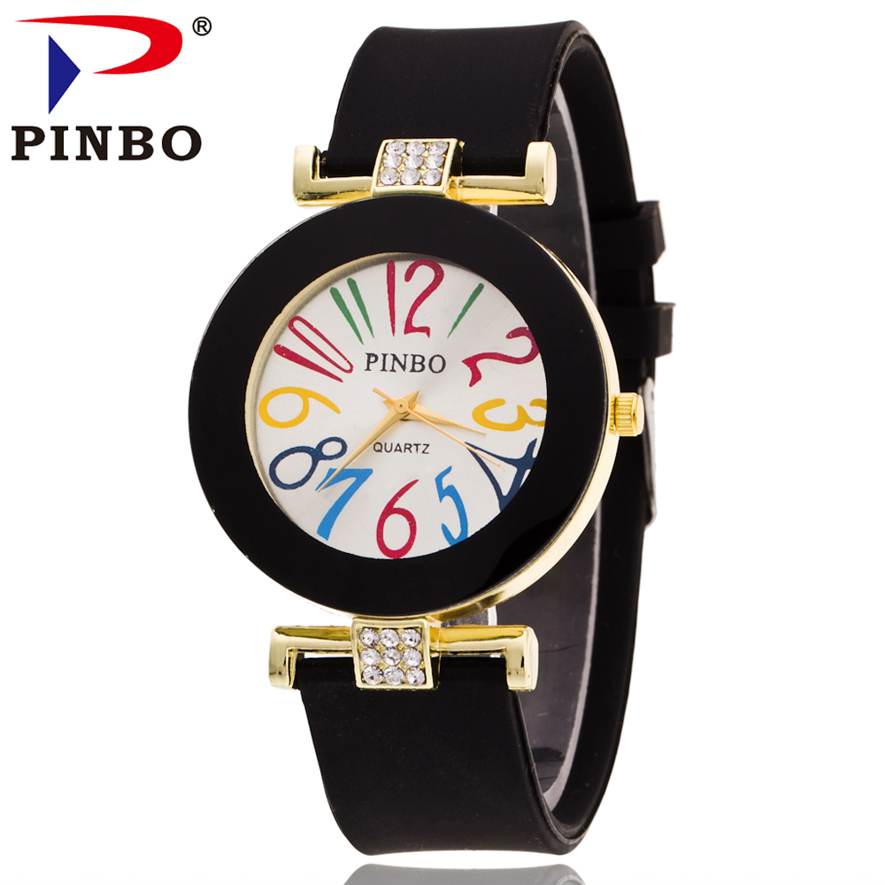 2016 New Fashion PINBO Brand Big Number Gold Casual Quartz Watch Women Crystal Silicone Jelly Watches Relogio Feminino Clock Hot