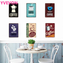 Coffee Sign Cafe Decoration Plaque Neon Metal Tin Vintage Drink European Style Rectangle Beverage Board Wall Poaster 20x30cm