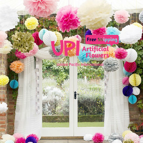 "4"" 100pcs Tissue Paper Pom Poms Decorative Paper Flowers Wedding"