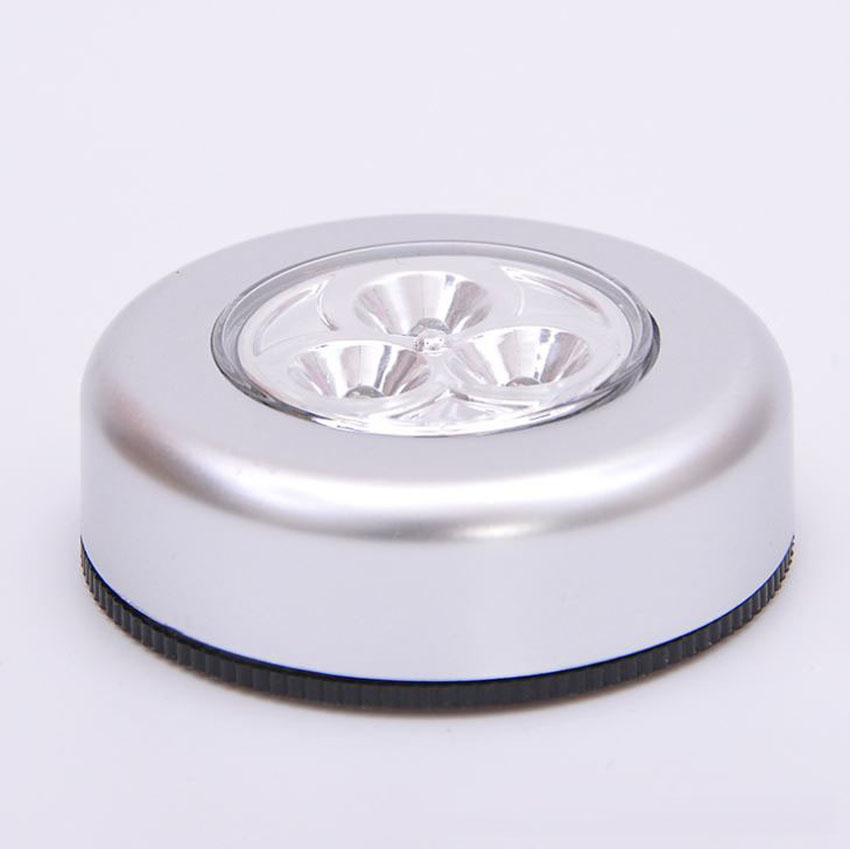 Silver Touch Night Light 3 LEDS Energy Saving Push Lamp Night  Car Home Wall Camping Battery Power  Weight New Arrival