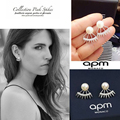 APM MONACO New Style Micro Pave AAA Top CZ Diamond Crystals Pearl Spiked Earrings Dual Use Stud Earrings for Women