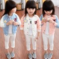 2016 New Spring autumn Cute Baby Girl Coat Print Cartoon single button Girl Jacket Full Sleeve Toddler Girl Outerwear