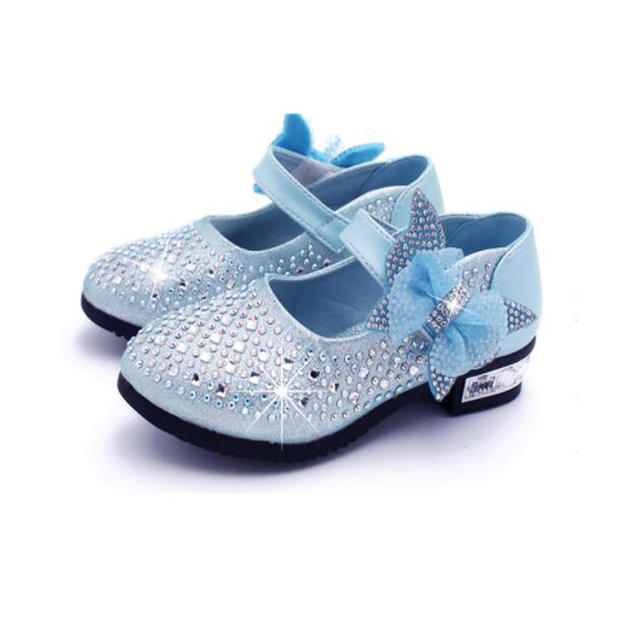 Princess Kids Leather Shoes For Girls Wdding Party wear Glitter Sequin  Children High Heel Girls Shoes 658eb23fd888