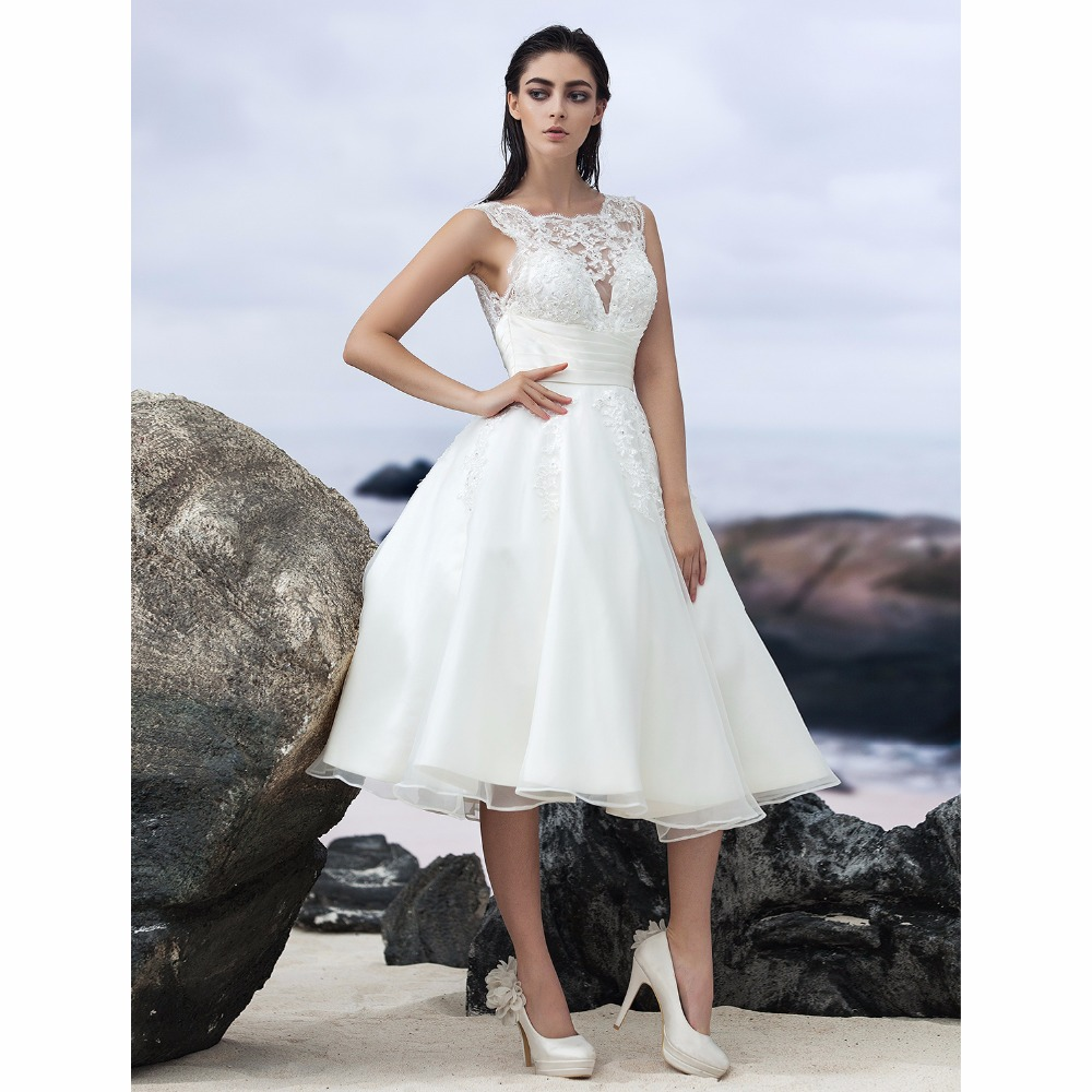 LAN TING BRIDE A Line Beach Wedding Dress Backless O Neck