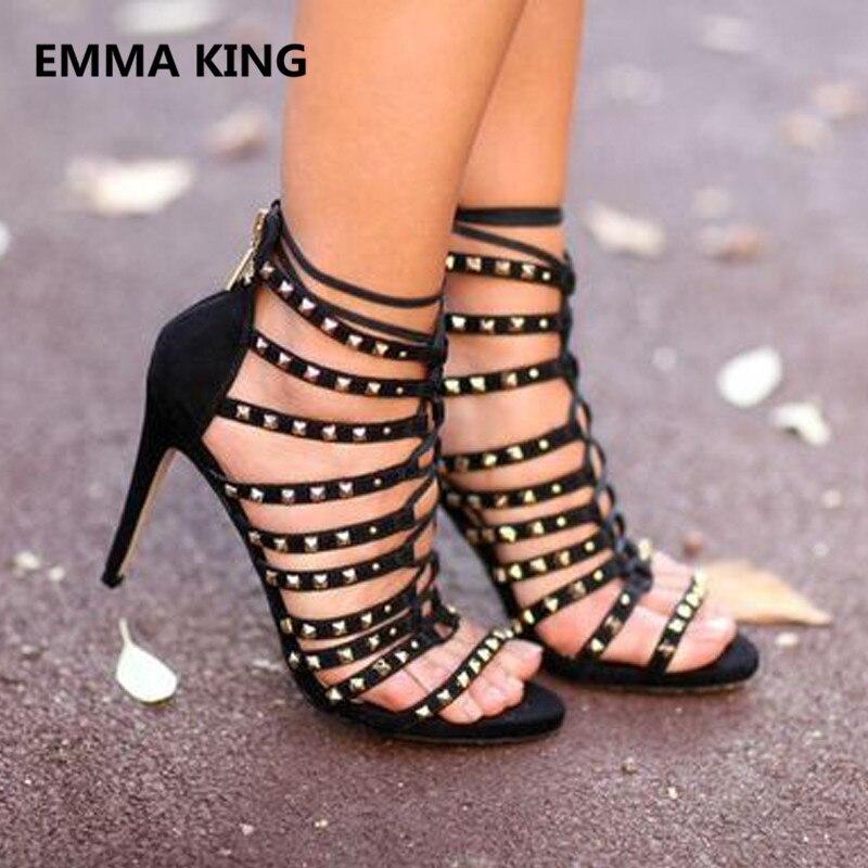 b0188ad7a36 Souliers Sandales Chaussures Femme Hauts Dames Troupeau Noir Talons Picture  Rivets Spartiates In As Ouvert Sexy D été Bottines Découpe Shown Bout ...
