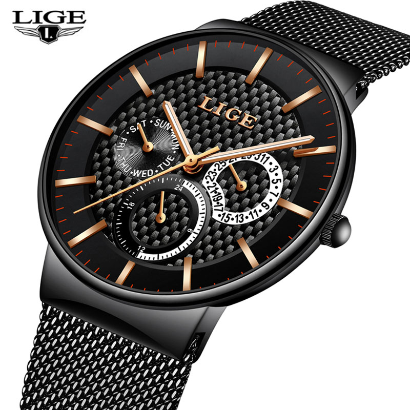 Relogio Masculion LIGE Men Top Luxury Brand Military Sport Watch Men's Quartz Clock Male Full Steel Casual Business Male Clock orient часы orient em0401yw коллекция three star page 4
