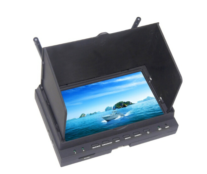 Skywing DV701 HD FPV 32CH DVR Dual Receiver Monitor Built-in Battery w/Sunshade