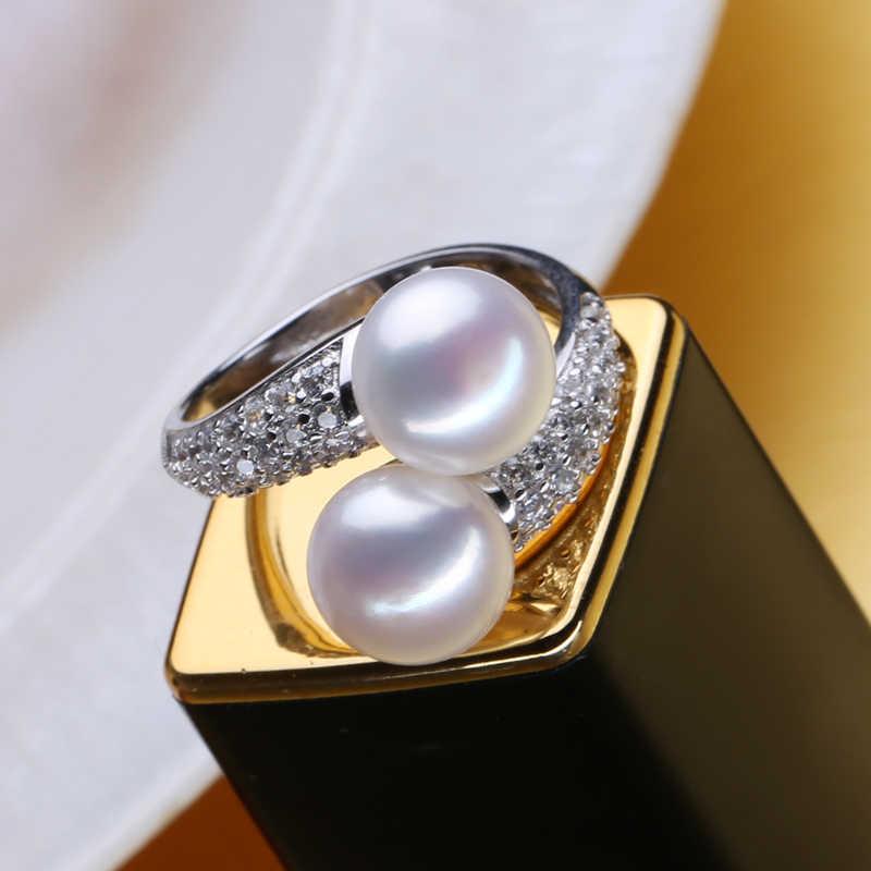 MINTHA Trang Sức Ngọc Trai, đôi Trân rings, Nước Ngọt Tự Nhiên Trân rings, 925 nhẫn Bạc cho nữ charms bạc 925 original