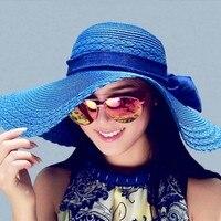 Hot 10 Colors Women Bowknot Wide Brim Summer Beach Sun Hat Lady Vacation Straw Cap Free