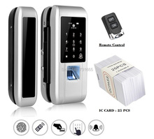 Glass Door Lock Office Keyless Electric Fingerprint Lock With Touch Keypad Smart Card Remote Control Key Door Lock fingerprint lock office glass door single double door password lock card remote sensing remote control electronic access control