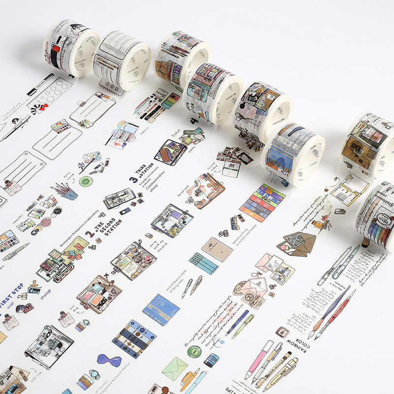 Briefpapier Thema Ontwerp Washi Tape Decoratie Plakband Diy Scrapbooking Sticker Label Afplakband