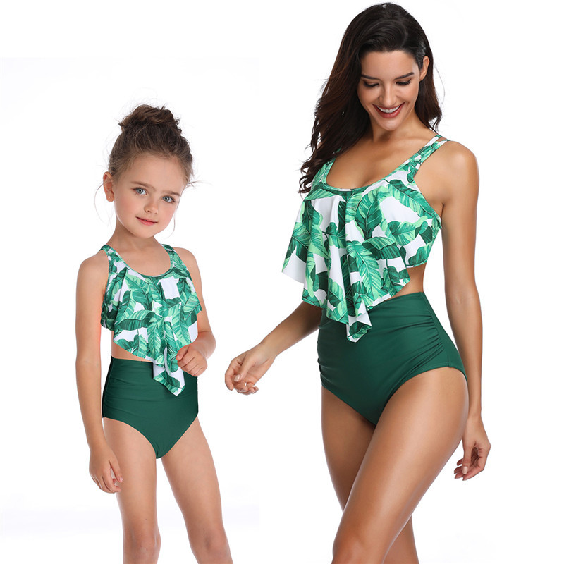 Vintage Mother Daughter Family Swimwear Matching Outfits Floral Printed Ruffle High Waist Bikini Girl Swimsuit Sexy Bathing Wear