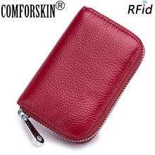 COMFORSKIN Luxurious Cowhide Leather RFID Protection Business Card Wallet Multi-Card Bit Coin Pockets 2018 Hot Sale Holders