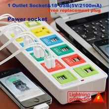 smart power socket plug 1 Outlet & 18 usb socket with EU UK US Power Strip socket