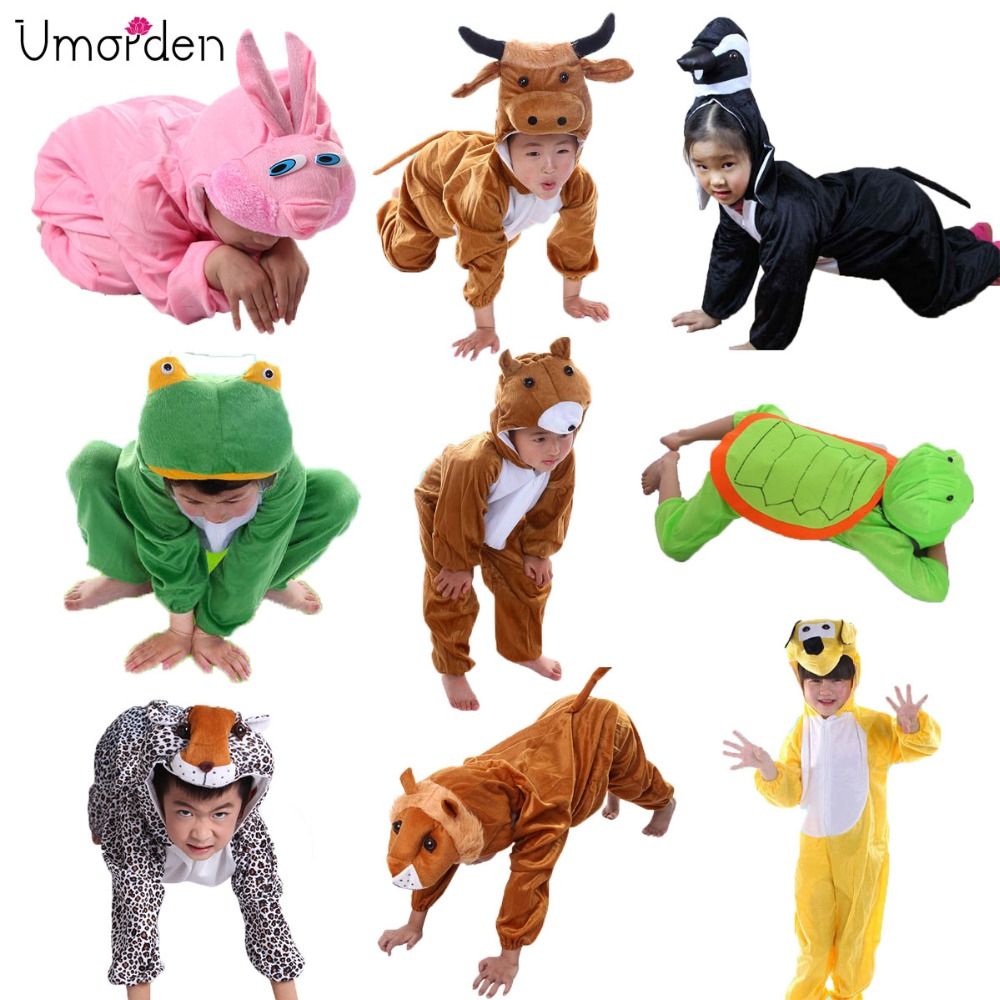 Umorden Cartoon Copii Copii Animale Costume Cosplay Jumpsuit Lion Mouse Leopard Cat Costum de Halloween pentru Animale Boy Girl