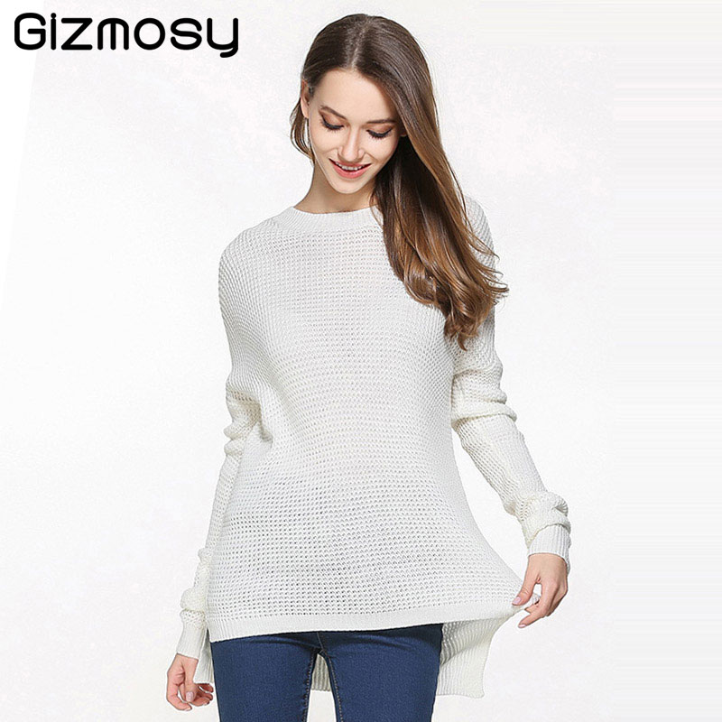1PC Casual Swearter Women Solid O-Neck Long Sleeve Knitted Sweater Female Warm Soft Pullovers Plus Size Warm Tops SY1994 ...