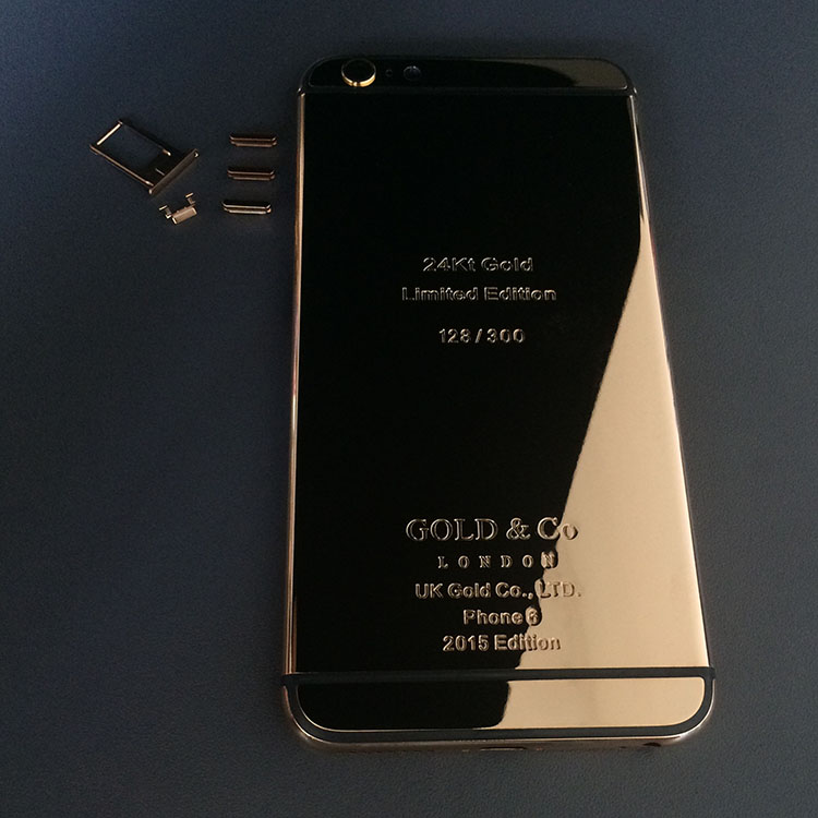 For iPhone 6 24K 24CT 24KT Limited Edition Mirror Rose Gold/Black Stripe Replacement Middle Frame Bezel Back Cover Housing LOGO