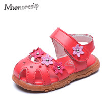 Mumoresip New Hot Baby Girls Sandals Floral Beach Shoes For Toddlers Kids Super Soft Sweet Children Sandals Toe-cap Anti-kick(China)