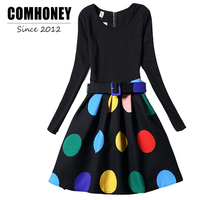 Girls Dress For Teenager Long Sleeve Clothing With Belt Floral Print Princess Party Dress Fall Patchwork