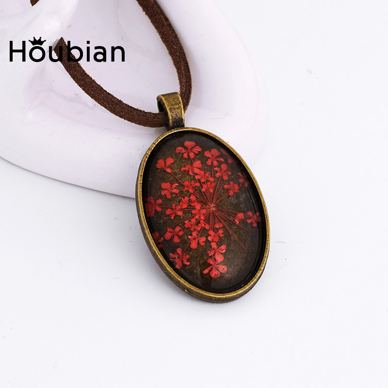 Dried Flowers Glass Necklace Creative Plant Pendant Crystal Necklace for Women Gift Wedding Mother's day