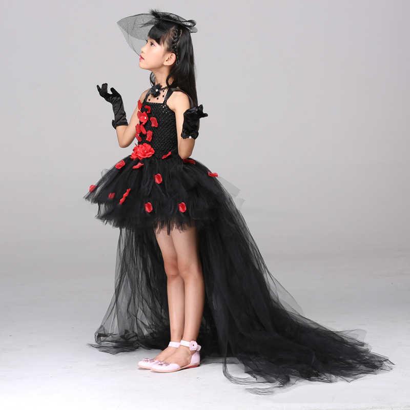 ポッシュ夢黒花花びらラインストーン女の子ドレス用パーティー赤い花キッズ女の子チュチュドレスで列車チュール子供服