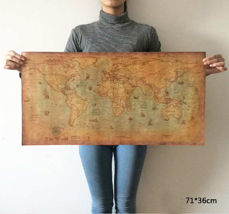 Vintage world map nautical ocean sea maps retro old paper poster vintage world map nautical ocean sea maps retro old paper poster wall chart sticker antique home decoration map world 71x36cm in wall stickers from home gumiabroncs Choice Image