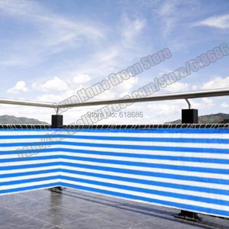Blue/white striped privacy screen net awning fence for ...